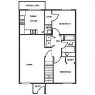 876ft² 2 Bedroom, 1 Bathroom Floorplan